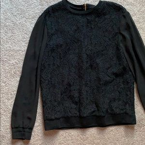 Lauren Ralph Lauren black floral lace blouse